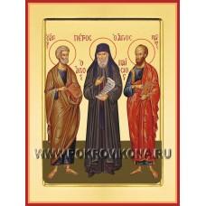 Преподобный Паисий Святогорец с апостолами Петром и Павлом